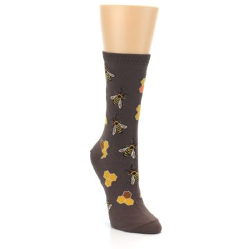 Image of Brown Yellow Busy Bees Women's Dress Socks (side-1-front-02)