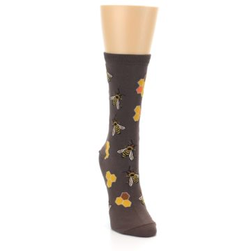 Image of Brown Yellow Busy Bees Women's Dress Socks (side-1-front-03)