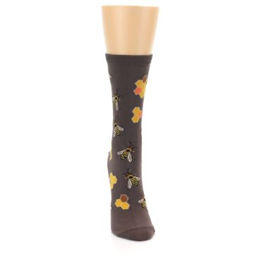 Image of Brown Yellow Busy Bees Women's Dress Socks (front-04)