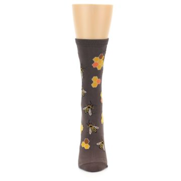 Image of Brown Yellow Busy Bees Women's Dress Socks (front-05)