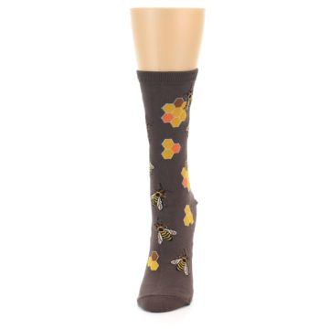 Image of Brown Yellow Busy Bees Women's Dress Socks (side-2-front-06)
