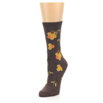 Image of Brown Yellow Busy Bees Women's Dress Socks (side-2-front-08)