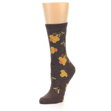 Image of Brown Yellow Busy Bees Women's Dress Socks (side-2-09)