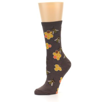 Image of Brown Yellow Busy Bees Women's Dress Socks (side-2-10)