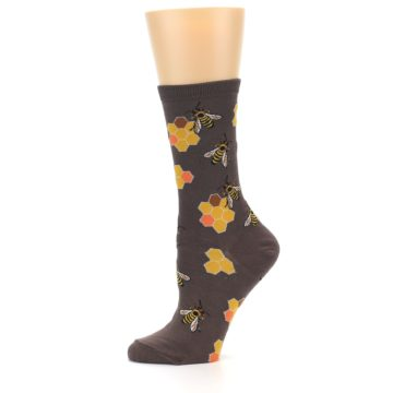 Image of Brown Yellow Busy Bees Women's Dress Socks (side-2-11)