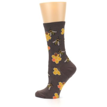 Image of Brown Yellow Busy Bees Women's Dress Socks (side-2-13)