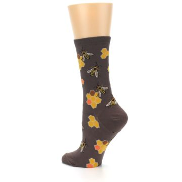 Image of Brown Yellow Busy Bees Women's Dress Socks (side-2-back-14)