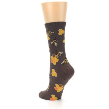 Image of Brown Yellow Busy Bees Women's Dress Socks (side-2-back-15)