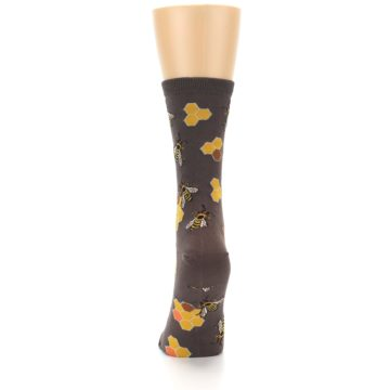 Image of Brown Yellow Busy Bees Women's Dress Socks (back-18)