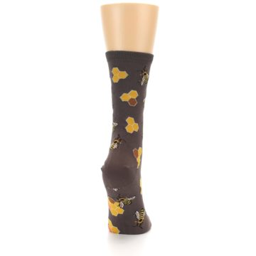 Image of Brown Yellow Busy Bees Women's Dress Socks (side-1-back-20)