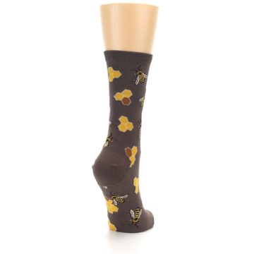 Image of Brown Yellow Busy Bees Women's Dress Socks (side-1-back-21)