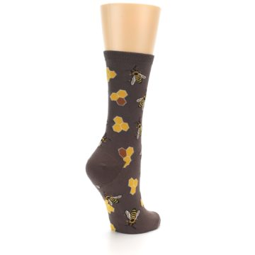 Image of Brown Yellow Busy Bees Women's Dress Socks (side-1-back-22)