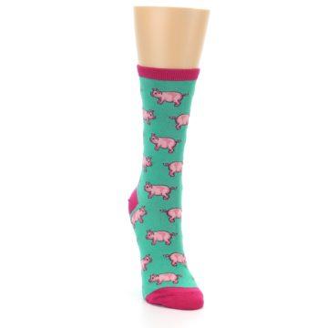Image of Jade Green Pink Pigs Women's Dress Socks (side-1-front-03)