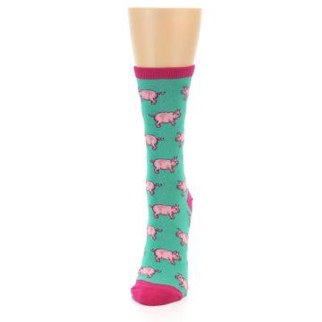 Image of Jade Green Pink Pigs Women's Dress Socks (side-2-front-06)