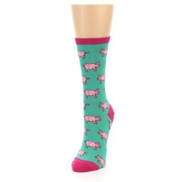 Image of Jade Green Pink Pigs Women's Dress Socks (side-2-front-07)