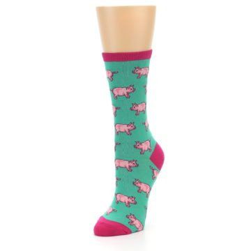Image of Jade Green Pink Pigs Women's Dress Socks (side-2-front-08)