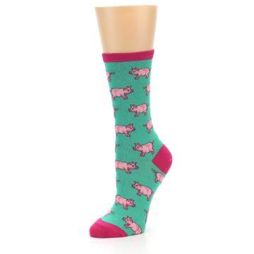Image of Jade Green Pink Pigs Women's Dress Socks (side-2-09)