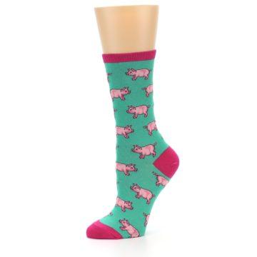 Image of Jade Green Pink Pigs Women's Dress Socks (side-2-10)
