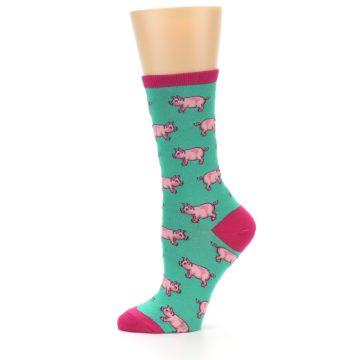 Image of Jade Green Pink Pigs Women's Dress Socks (side-2-11)
