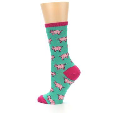 Image of Jade Green Pink Pigs Women's Dress Socks (side-2-13)