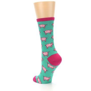 Image of Jade Green Pink Pigs Women's Dress Socks (side-2-back-15)