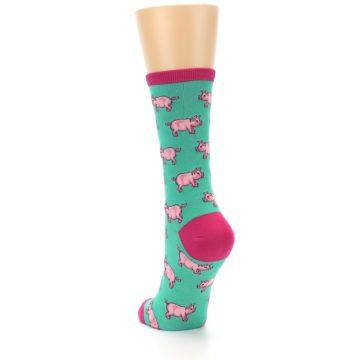 Image of Jade Green Pink Pigs Women's Dress Socks (side-2-back-16)