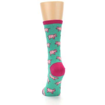 Image of Jade Green Pink Pigs Women's Dress Socks (back-17)