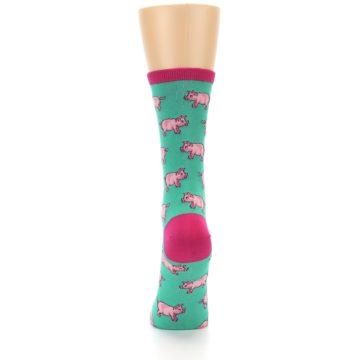Image of Jade Green Pink Pigs Women's Dress Socks (back-18)