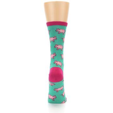 Image of Jade Green Pink Pigs Women's Dress Socks (back-19)