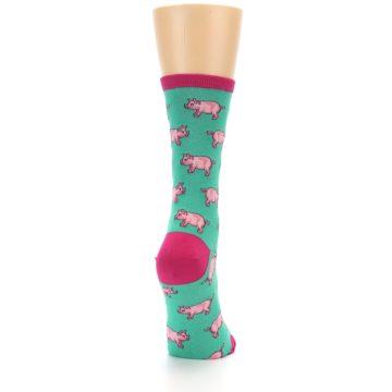Image of Jade Green Pink Pigs Women's Dress Socks (side-1-back-20)