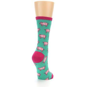 Image of Jade Green Pink Pigs Women's Dress Socks (side-1-back-21)