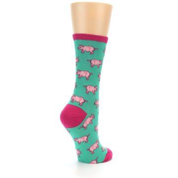 Image of Jade Green Pink Pigs Women's Dress Socks (side-1-back-22)