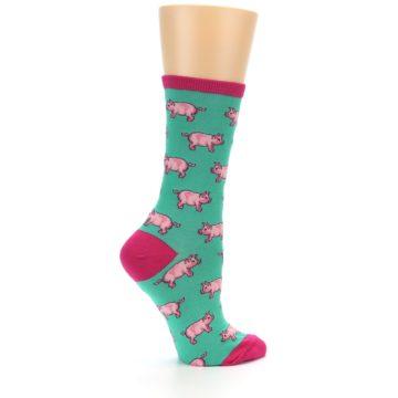 Image of Jade Green Pink Pigs Women's Dress Socks (side-1-24)