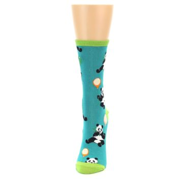 Image of Lagoon Blue Panda Party Women's Dress Socks (side-2-front-06)