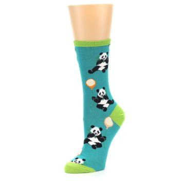 Image of Lagoon Blue Panda Party Women's Dress Socks (side-2-09)
