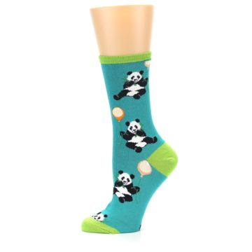 Image of Lagoon Blue Panda Party Women's Dress Socks (side-2-11)