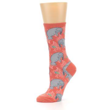 Image of Coral Grey Manatee Women's Dress Socks (side-2-10)