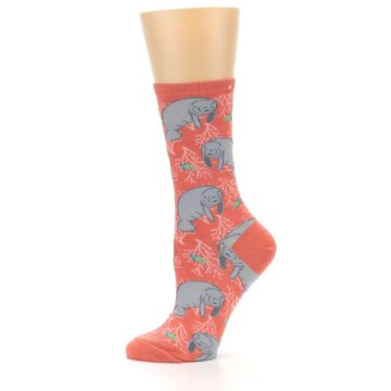 Image of Coral Grey Manatee Women's Dress Socks (side-2-11)