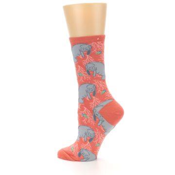Image of Coral Grey Manatee Women's Dress Socks (side-2-13)