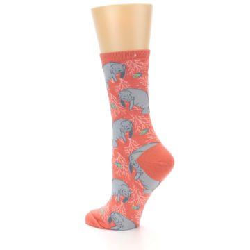 Image of Coral Grey Manatee Women's Dress Socks (side-2-back-14)