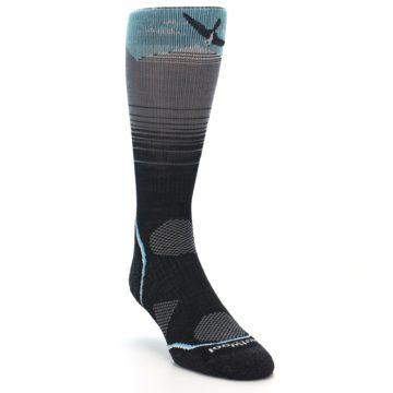 Image of Grey Blue Bird Wool Men's PhD Outdoor Socks (side-1-front-02)