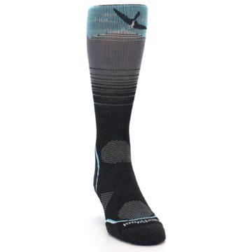 Image of Grey Blue Bird Wool Men's PhD Outdoor Socks (side-1-front-03)
