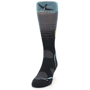 Image of Grey Blue Bird Wool Men's PhD Outdoor Socks (side-2-front-06)