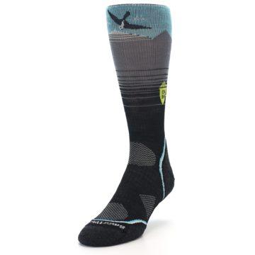 Image of Grey Blue Bird Wool Men's PhD Outdoor Socks (side-2-front-07)