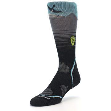 Image of Grey Blue Bird Wool Men's PhD Outdoor Socks (side-2-front-08)