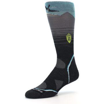 Image of Grey Blue Bird Wool Men's PhD Outdoor Socks (side-2-09)