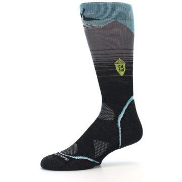 Image of Grey Blue Bird Wool Men's PhD Outdoor Socks (side-2-10)