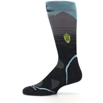 Image of Grey Blue Bird Wool Men's PhD Outdoor Socks (side-2-11)
