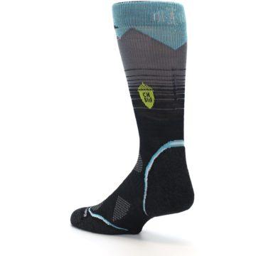 Image of Grey Blue Bird Wool Men's PhD Outdoor Socks (side-2-back-14)