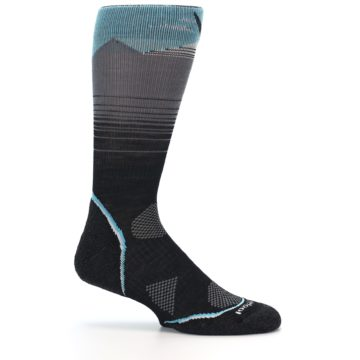 Image of Grey Blue Bird Wool Men's PhD Outdoor Socks (side-1-25)